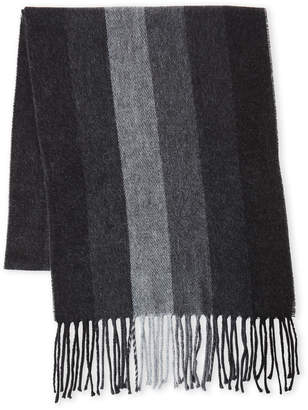 Geoffrey Beene Grey Striped Fringe Scarf