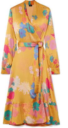 Stine Goya Reflection Floral-print Silk-blend Satin Wrap Dress - Marigold
