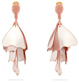 Oscar de la Renta Large Impatiens Clip On Earrings - Womens - Pink