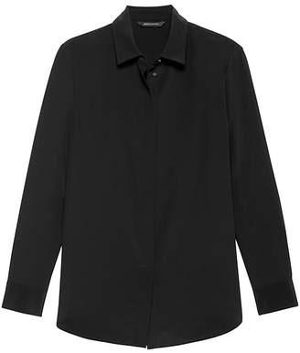 Banana Republic Parker Tunic-Fit Solid Washable Silk Shirt