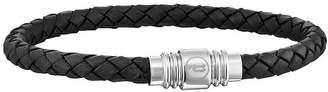 Mens Black Leather Weave Magnetic Bracelet