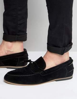 Asos Design Tassel Loafers In Black Faux Suede With Fringe