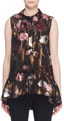 Erdem Sleeveless Metallic-Floral Fil Coupe Babydoll Top w/ Shirt Collar