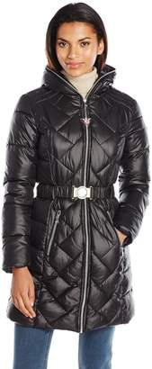 GUESS Women's Polyfill Belted Puffer with Hood