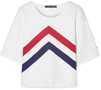 Perfect Moment - Cropped Printed Cotton-jersey T-shirt - White