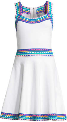 Milly Multicolor-Trim Flare Dress