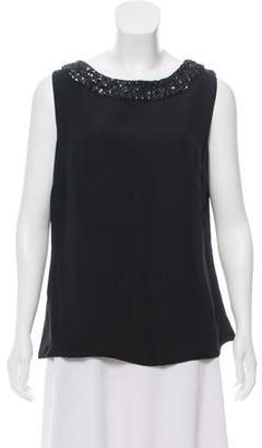 Marchesa Silk Embellished Sleeveless Top