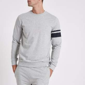 River Island Only and Sons grey stripe crew neck sweatshirt