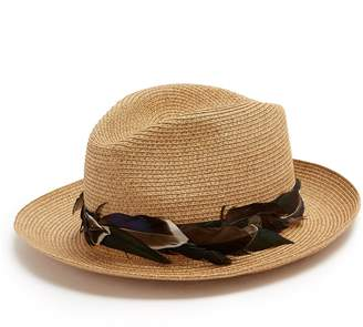FILÙ HATS Sinatra feather-trimmed straw hat
