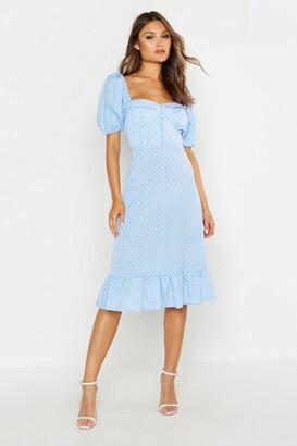 boohoo Puff Sleeve Bustier Ruffle Hem Polka Dot Midi Dress