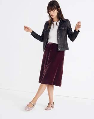 Madewell Velvet Button-Front Midi Skirt