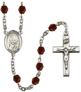 Beretta Bonyak Jewelry Rosary Collection -Plated Rosary 6mm January Red Fire Polished Beads, Crucifix Size 1 3/8 x 3/4. St. Gianna Molla medal charm