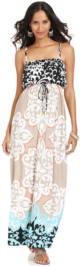 Style&Co. Petite Dress, Spaghetti-Strap Printed Tiered Empire-Waist Maxi