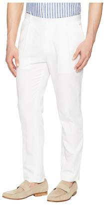 Calvin Klein Linen Tapered Carrot Fit Pleated Pants Men's Casual Pants