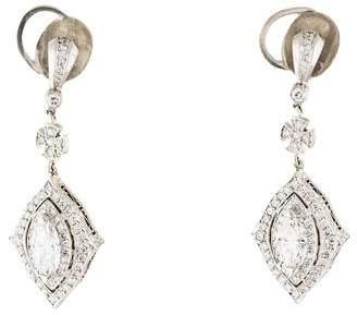 Michael Beaudry Platinum Diamond Drop Earrings