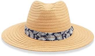 Forever 21 Paisley Trim Straw Fedora Hat