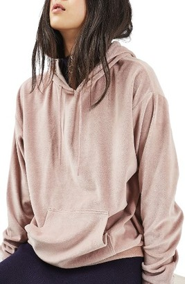 Women's Topshop Oversized Velvet Hoodie $52 thestylecure.com