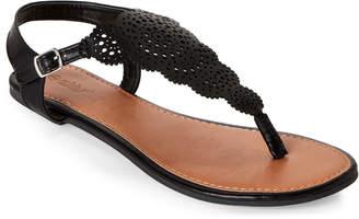 Olivia Miller Girl Laser-Cut T-Strap Thong Sandals