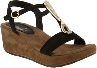 Spring Step Azura by Suede Embellished Wedge Sandals - Lawna