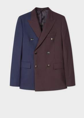 Paul Smith Men's Pieced Damson And Navy Double-Breasted Blazer