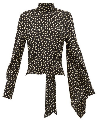 Petar Petrov Becke Asymmetric Sleeve Polka Dot Silk Blouse - Womens - Black White