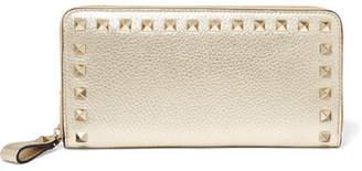 Valentino Garavani The Rockstud Textured-leather Wallet - Gold