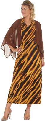 Bob Mackie Bob Mackie's Animal Print Maxi Dress with Solid Woven Shrug