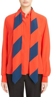 Givenchy Stripe Scarf Silk Shirt