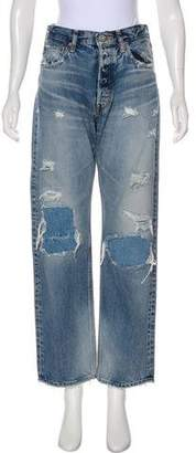 Moussy Distressed Mid-Rise Straight-Leg Jeans w/ Tags