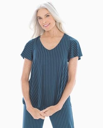 Cool Nights Lace Back Short Sleeve Pajama Top Pin Dot Stripe Shadow 3bad1f8d7