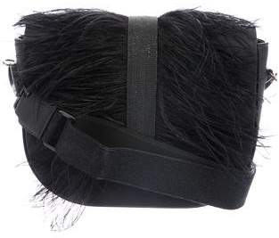 Brunello Cucinelli Ostrich Feather-Trimmed Leather Flap Bag