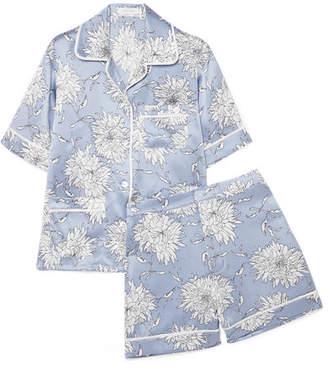 Olivia von Halle - Millicent Floral-print Silk-satin Pajama Set - Blue