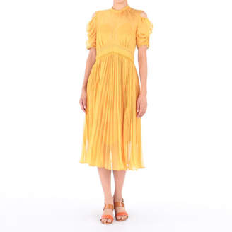 Self-Portrait セルフ・ポートレイト Mustard Pleated Chiffon Midi Dress