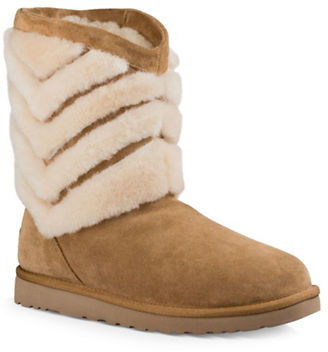 Ugg Tania Chevron Sheepskin Fur Boots $175 thestylecure.com