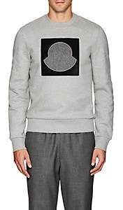 Moncler Men's Logo-Appliquéd Cotton Fleece Sweatshirt-Gray