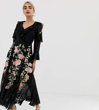 Asos DESIGN Petite embroidered wrap maxi dress