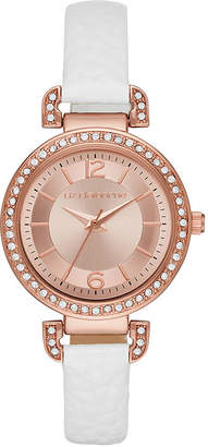 Liz Claiborne Womens Rose Gold Tone Sunray Dial White Strap Watch
