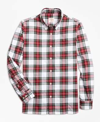 Brooks Brothers Stewart Tartan Cotton Flannel Sport Shirt