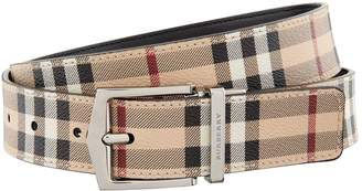 Burberry Leather Haymarket Check Belt