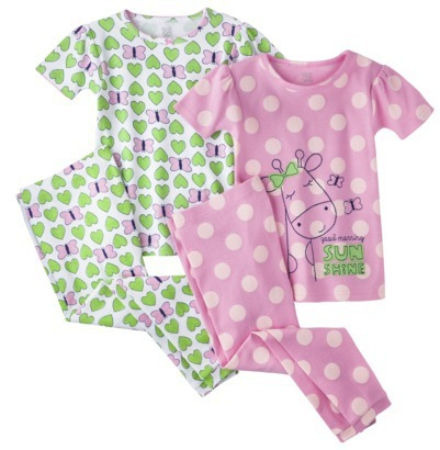 Carter's Just One YouTM by Infant Toddler Girls' 4-Piece Short-Sleeve Giraffe Fish Pajama Set