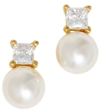 Women's Majorica Cubic Zirconia & Faux Pearl Stud Earrings $95 thestylecure.com