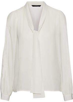 Walter W118 By Baker Hilana Tie-neck Pintucked Crepe De Chine Blouse