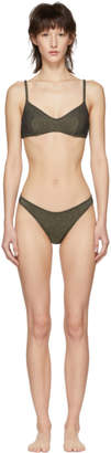 Solid and Striped Grey and Gold Metallic Rib The Rachel Bikini