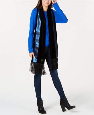 DKNY Velvet Sequined Stripe Fringe Scarf