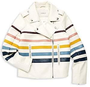 Blank NYC Girl's Faux Leather Stripe Moto Jacket