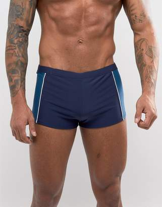 Esprit Hipster Swims Trunk In Navy With Contrast Panel