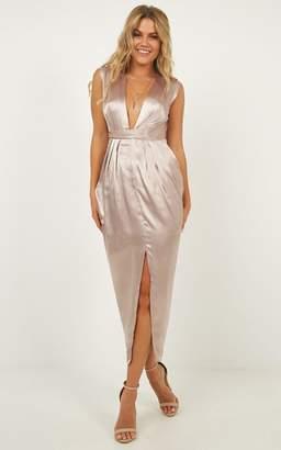Showpo Dream Simply Dress in Mocha Satin - 6 (XS) Dresses