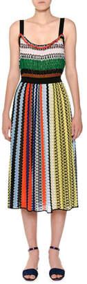 Missoni Thin-Strap Elastic-Waist Multicolor Knit Midi Dress