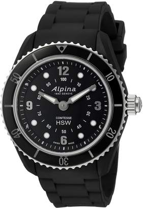 Alpina Women's 'Comtesse' Swiss Quartz Stainless Steel and Rubber Fitness Watch, Color:Black (Model: AL-281BS3V6)