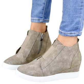 e4d9166086ed PRETTYHOMEL Women's Platform Sneakers Hidden Wedges Side Zipper Faux Suede  Perforated Ankle Booties(-36
